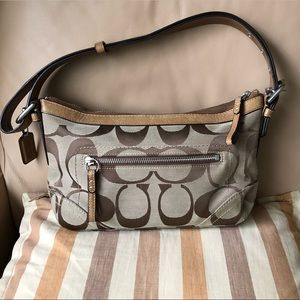COACH signature fabric and tan leather bag